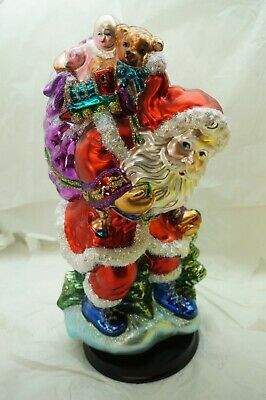 Huge Painted Glass Santa Claus Centerpiece Radko? Pacconi? Dept 56? Christmas 15
