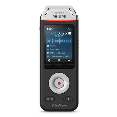 Philips VoiceTracer Audio Voice Recorder for Interviews w/ 2 Microphone Black