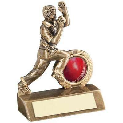 Cricket Bowler Trophy 3.75in Bronze Award Gold Mini FREE Engraving