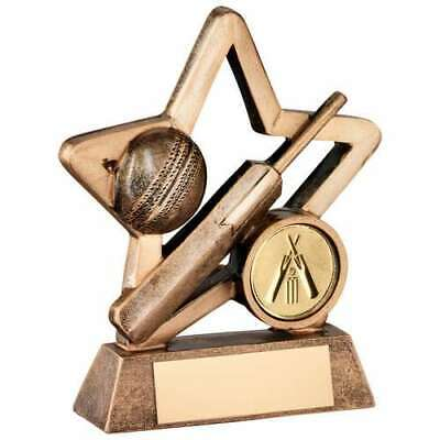 Cricket Mini Star Trophy 3.75in Award Bronze Gold Resin FREE Engraving