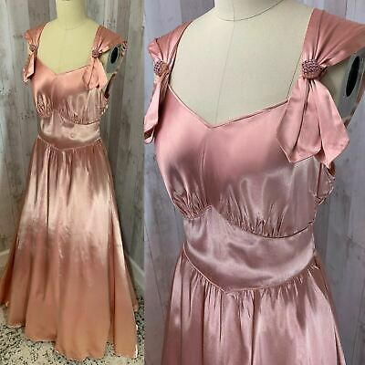 1930s-Antique ART DECO DRESS~Liquid Satin Pale Pink Vintage 1920s Wedding S