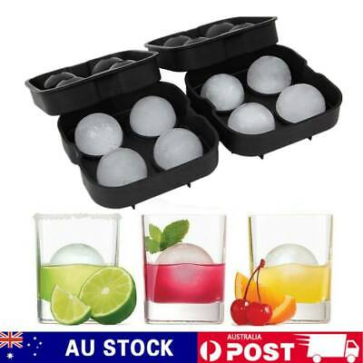 2x Large Ice Cube Tray Ball Maker Big Rubber Mold Sphere Whiskey DIY Round Mould