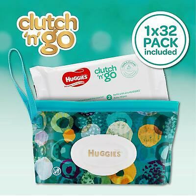 2 Pack X HUGGIES Baby Wipes Refillable Clutch `N' Go, 32 Wipes FAST SHIPPING