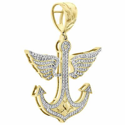 "10K Yellow Gold Over With Diamond Ship Anchor Angel Wing Pendant 1.70"" Charm"