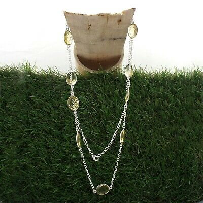 Citrine Quartz Gemstone Silver Plated Necklace Women Wear Wonderful Jewelry