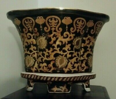 Large Porcelain Planter Jardiniere w/ Footed Underplate Black and Gold Tapestry