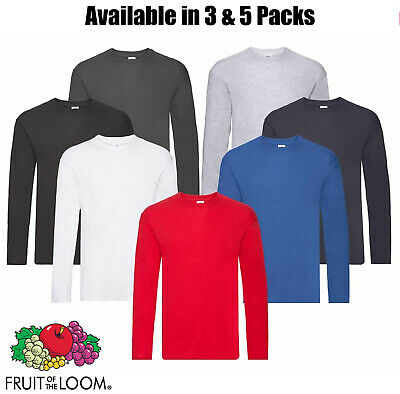 Fruit of the Loom Long Sleeve T Shirt 100% Cotton Plain Tee Mens T-Shirt Lot