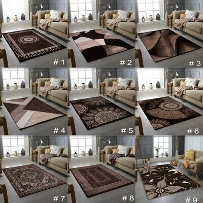 New Modern Rug Brown Living Room Rug Bedroom Floor Rugs Small  And Large Sizes