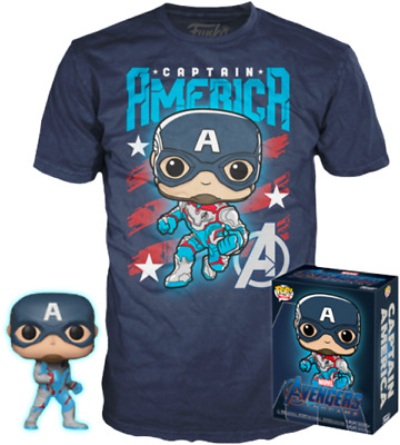 AVENGERS Endgame: Captain America Glow FUNKO Pop Vinyl Figure & T-Shirt Box Set