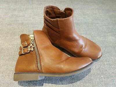 Primark size 11 (29) tan brown faux leather side zip buckle strap ankle boots