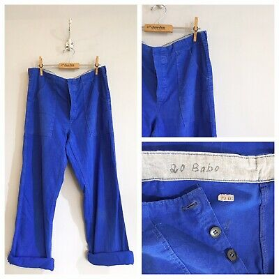 "True Vintage Cobalt Blue Cotton Chore Workwear Trousers Pants W34"" M"