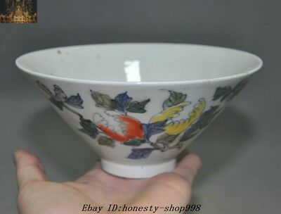 "6""Marked Chinese Dynasty Wucai Old Porcelain glaze Peach Bowl Cup Bowls"