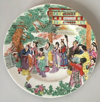 Antique large plate chinese porcelain hand painted signed