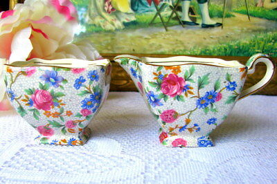 Royal Winton Old Cottage Chintz Creamer and Sugar Bowl Vintage English Chintz