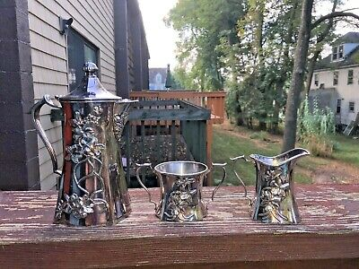 Antique Colonial Silver Co Quadruple Plate Flower Design TEA SET  Portland ME