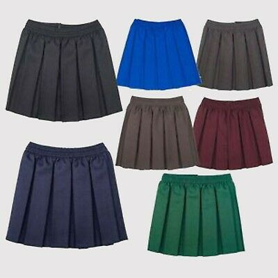New Girls Box Pleat All Round Elasticated Waist Skirt School Uniform Kids Skirts