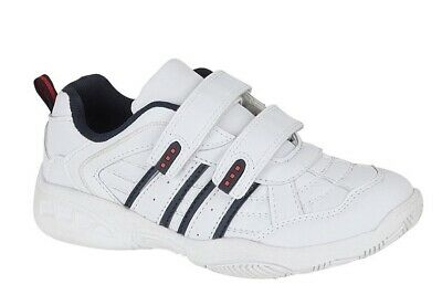 Boys Velcro Trainers Boys PE School Shoes Casual Easy Touch Fastening White Size