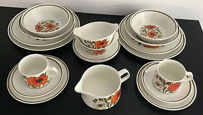 Vintage 1970's J &G Meakin 'Poppy' 19pce Dinner / Tea Set For Two