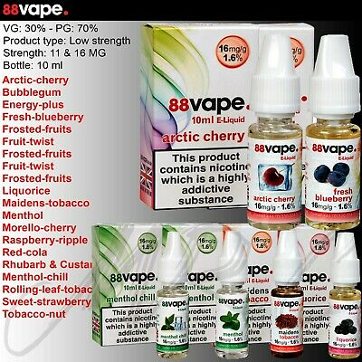 88 Vape PG/VG 70/30 E-Liquid Juice Vaping Nicotine Various Flavours in stock