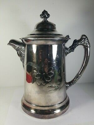 Victorian Silver Plated Double Walled Water Pitcher Jug w Lid Floral
