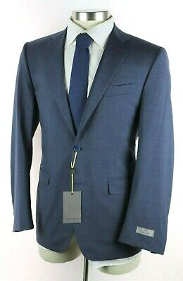 NWT $2195 CANALI 1934 Blue Micro-Check Year Round Wool Suit Slim-Fit 40 R /50EU