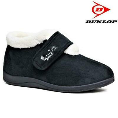 LADIES DUNLOP BRIANNA BOOTIE SLIPPERS SIZE UK 3-8 NAVY OR RED WOMENS DLH7845