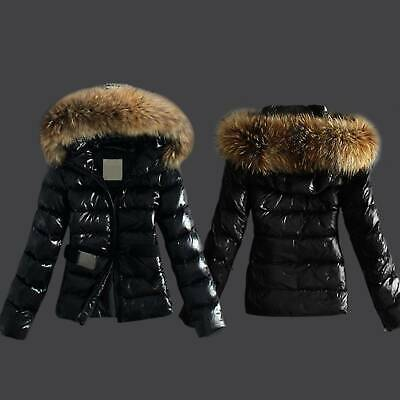 Womens Lady Quilted Padded Puffer Bubble Fur Hooded Wet Look Outwear Jacket Coat