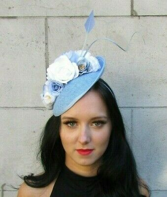 Powder Light Blue White Feather Flower Disc Saucer Hat Fascinator Sinamay 7620