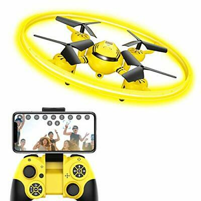 HASAKEE Q8 FPV Drone with HD Camera and Night Light,RC Drones for Kids (Yellow)