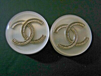 Chanel 2 cc buttons white silver 15mm lot of 2 good condition