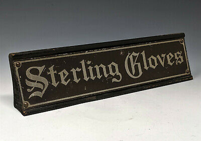 """c1918 STERLING GLOVES Advertising Counter Sign """"BRAS-ETCH"""" by NATIONAL ART WORKS"""