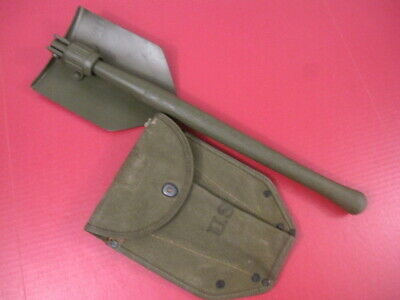 WWII US Army M1943 Entrenching Tool Shovel & Canvas Cover Carrier - Wood 1944 #3