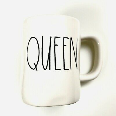 Rae Dunn Magenta QUEEN Coffee Tea Mug Ivory Artisan Collection Large Letter