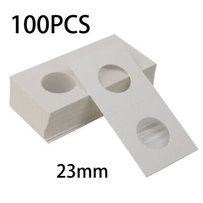 100x Coin Holders 2 X 2 Cardboard Mylar Flips Diameter 23mm Coin Storage Covers