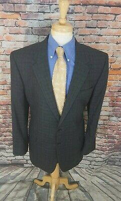Jos A Bank Signature 46L Grey Plaid SILK WOOL Lined Blazer Sport Coat Jacket