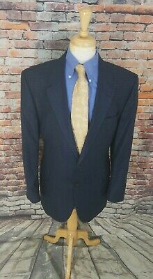 Jos A Bank Signature 46L Navy Check Plaid SILK WOOL Sport Coat Blazer Jacket EUC
