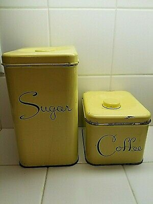 Vintage Harvell-Kilgore Metal Sugar Coffee Canisters Lemon Yellow Color