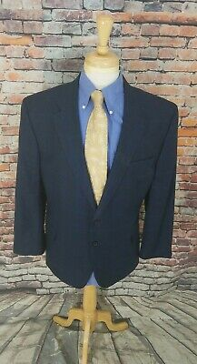 Jos A Bank Signature 46S Navy Glen Plaid 2 Button SILK WOOL Sport Coat Blazer