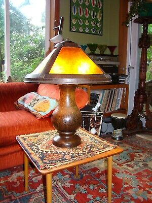 BENEDICT STUDIOS HAMMERED COPPER TABLE LAMP MICA SHADE Arts & Crafts Stickley Er