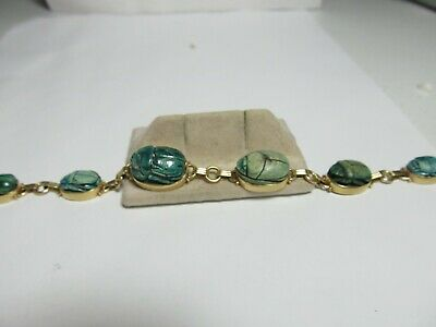 14K Solid Gold Antique Egyptian Faience Scarab Bracelet With Seals On Back
