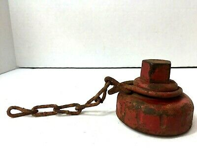 """Vintage Red Heavy Cast Iron Fire Hydrant Plug Cap Orig Chain 3"""" Threads 4"""" Total"""