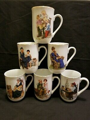 Vintage Coffee Cups Norman Rockwell Museum Collection 1982 Set of 6
