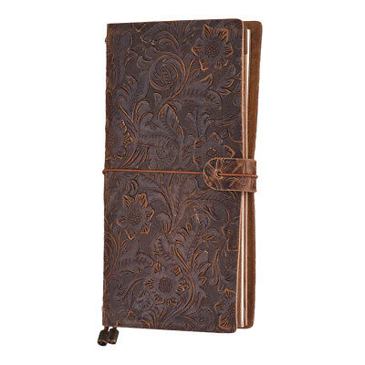 Antique Travel Journal Notebook Diary Leather Refillable Grid Paper Notepad O9N6