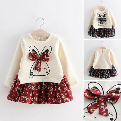 Toddler Child Kids Baby Girl Winter Bunny Floral Princess Party Dress Clothes