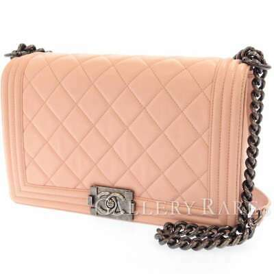 CHANEL Boy Chanel Large Lambskin Light Pink A92193 Chain Shoulder Bag Authentic