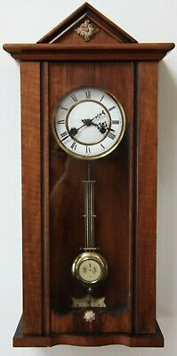Delightful antique small walnut Vienna style wall clock with attractive pendulum