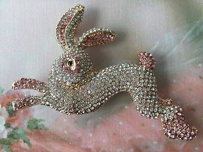 Vintage Jewellery Statement Brooch Pin Hare Rabbit Gold Pink White Dress Jewelry