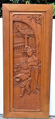 Beautiful Large Antique Chinese Carved Wood Panel Parent or Teacher and Student