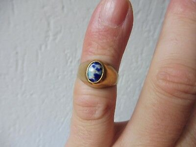 Beautiful, Old Ring ___ 800 Silver Gold Plated, with Mamoriertem Stones