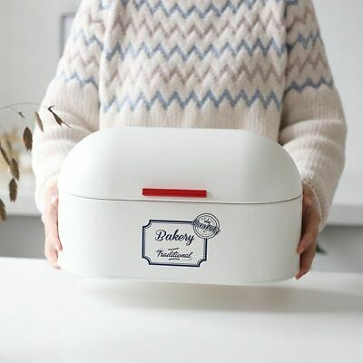 Food Container White Retro Household Hinged Bread Snacks Holder Kitchen Storage